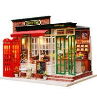 Nieuwe Houten Diy Poppenhuis Speelgoed Miniatuur Box Puzzel Poppenhuis Diy Kit Poppenhuis Meubels Koffie Winkel Model Geschenk Speelgoed Voor kinderen