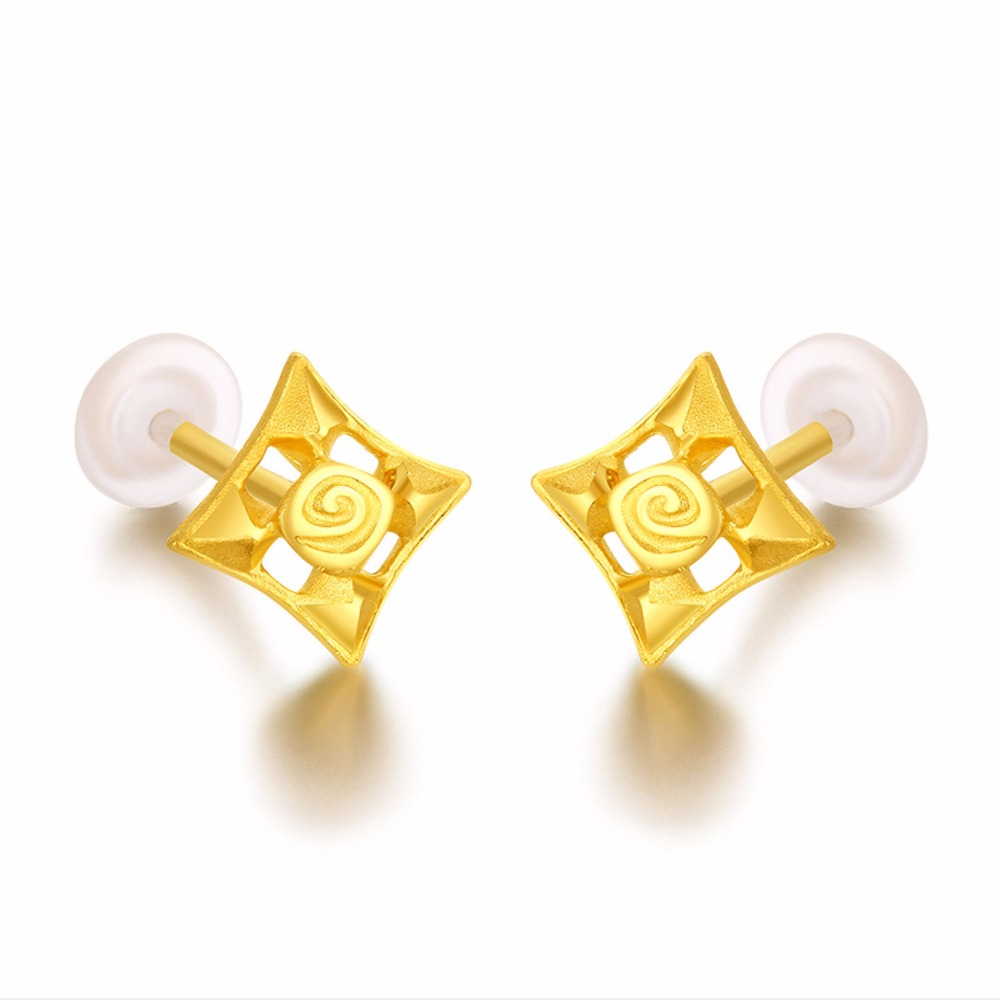 Real 999 Yellow Gold Square Stud Earrings Women Stud Earrings starry pattern gold plated alloy rhinestone stud earrings for women pink pair
