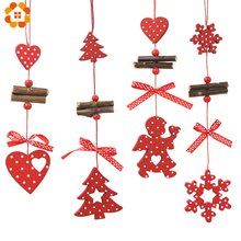 5PCS/Lot DIY Red Christmas Snowflakes&Star&Tree Wooden Pendants Ornaments Home Party Xmas Tree Kids Gifts Decorations