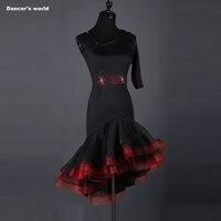 Sexy dress latin dance clothes for women latin dance spandex single sleeves dress girls latin dance dress Cha cha dance dress