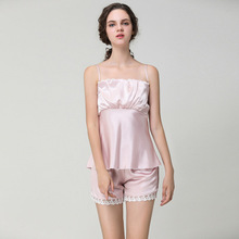 Sexy Summer Pajamas Sleepwear for Women Spaghetti Strap Nightwear Lace Trim Satin Cami Top Shorts Pajama Sets Homewear Nightwear недорого