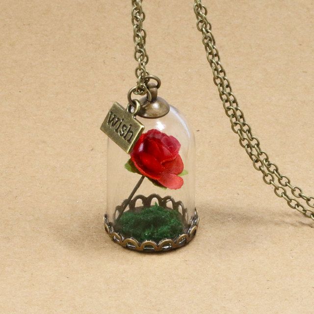 NingXiang 2017 New Arrival Forever Red Rose Flower Glass Wish Bottle  Necklace For Women Handmade Beauty And The Beast Necklaces c1939e0b71e9