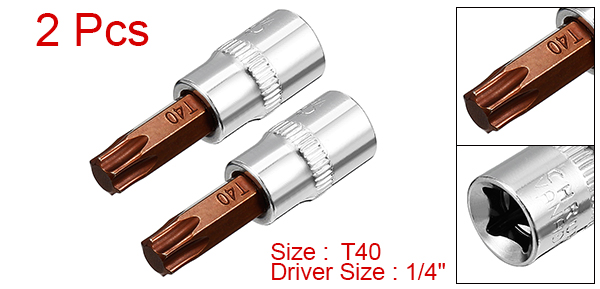 Купить с кэшбэком Uxcell Hot Sale 2Pcs S2 Steel 1/4-Inch Drive T40 Torx Bit Socket for Tightening Nuts Bolts Drive Ends fit 3/8-inch Drive