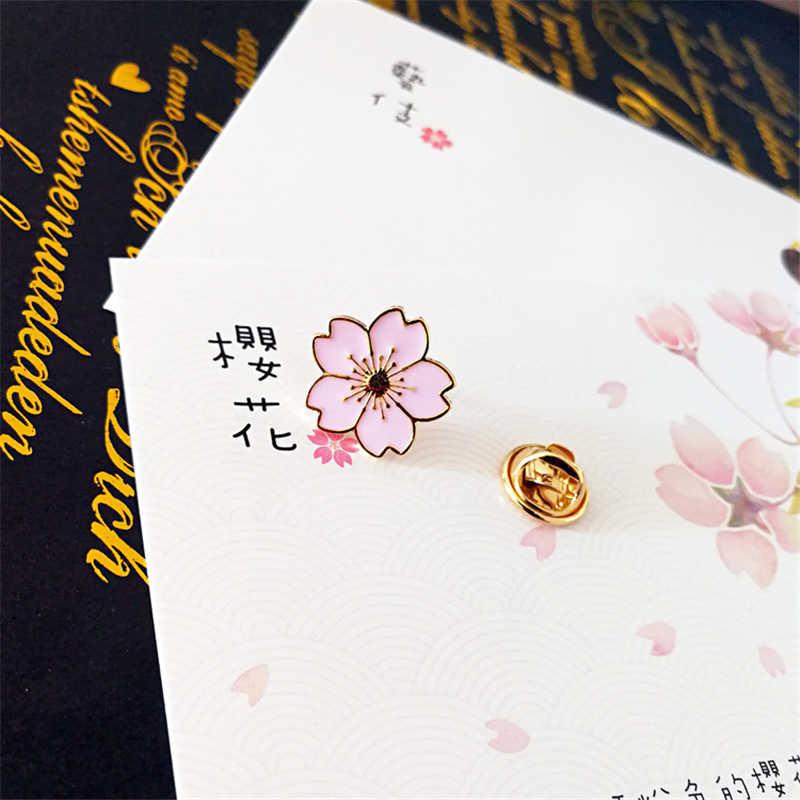 DoreenBeads seragam khusus Jepang sakura Blossom logam lencana Lencana Bros pin Pakaian Aksesori Putih Pink Hitam Biru Merah
