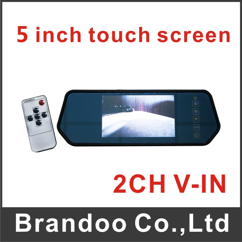 Free shipping Car monitor, 5 inch touch screen, 2 video input, auto switching video