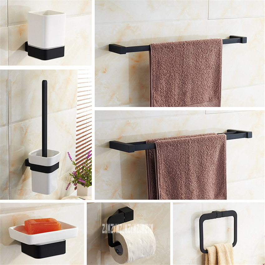 Bathroom 8 Pieces Combination Set Black Simple Lacquer Bathroom Brush Cups Soap Holder Towel Ring Racks Bathroom Hardware Set