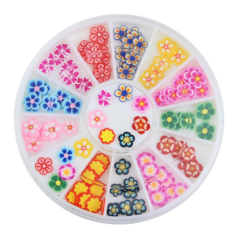 Polymer Clay 12 Kinds Of Flowers Fimo 3D Nail Art Decorations Glitter DIY Charm Nails Tools ZP128 professional 1000pcs lot fimo clay 3 series fruit flowers animals diy 3d nail art decorations nails art sticker design