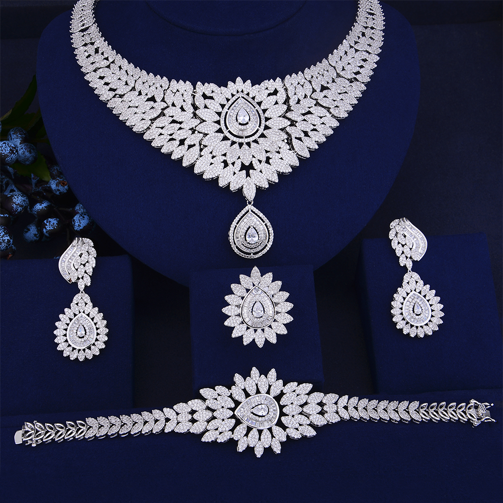 GODKI New Trendy Luxury Water Drop African Lariat Drop Jewelry Sets For Women Wedding Zircon CZ Indian Beads Bridal jewelry Sets