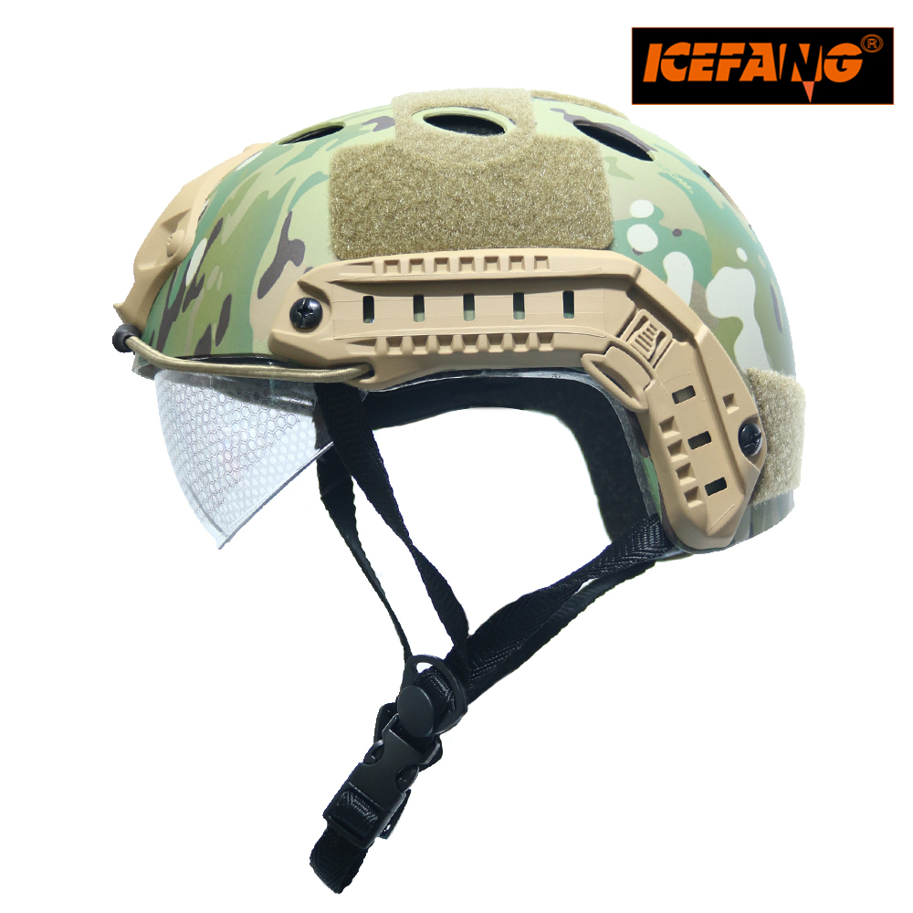 Tactical Airsoft Paintball Fast PJ Helmet with Goggles ARC Side Rails Vas Shroud NVG Mount military m88 helmet accessory airsoft paintball combat helmet mount kit rhino nvg mount for night vision