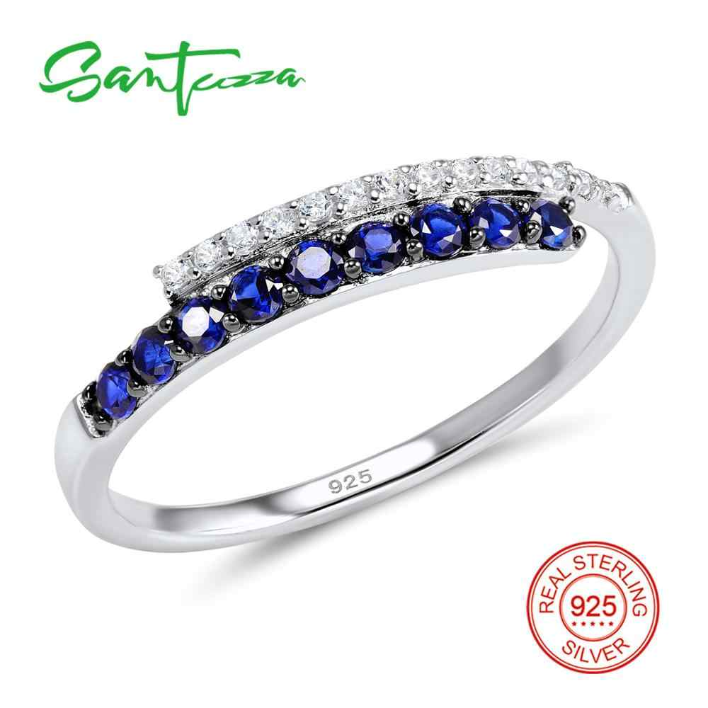 SANTUZZA แหวนเงิน 925 เงินสเตอร์ลิงแฟชั่นรอบแหวน 2017 Cubic Zirconia Ringen เครื่องประดับ