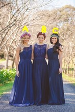 2016 New Dark Blue Lace Bridesmaid Dresses Plus Size A Line Chiffon Cheap China Custom Made Scoop Pleats vestidos de madrinha