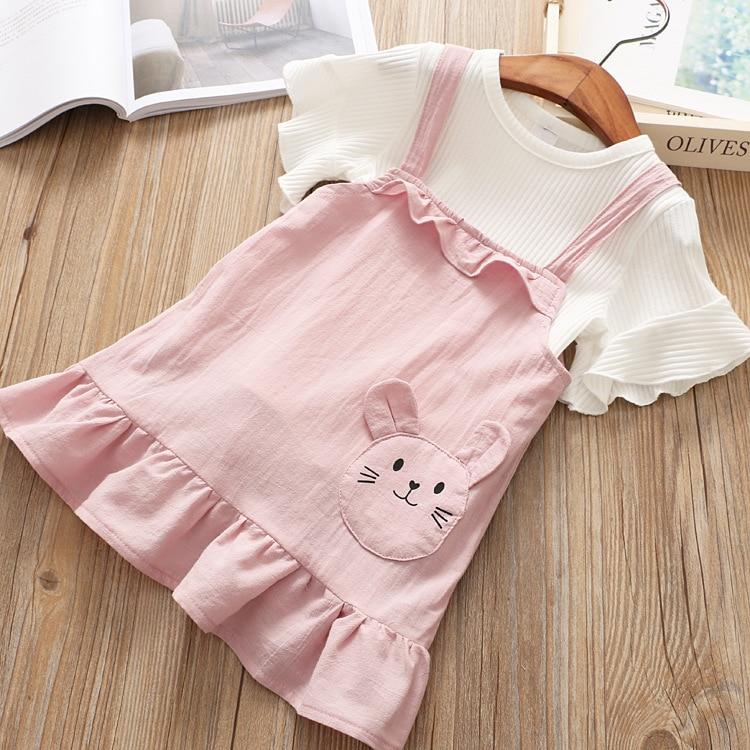 2018 New Girls Set Child Ruffles Shirts + Cartoon Suspander Dress Set for Girls Korean Children Set Fashion Kids Clothing Set