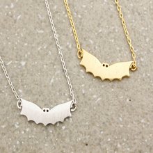 Fashion silver plating necklace Animal necklace Simple bat necklaces for women wholesale and mixed color  free shipping