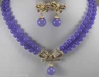 Hot Sale Free Shipping 2 Row 8mm Purple Jade Necklace Bow Pendant Earrings