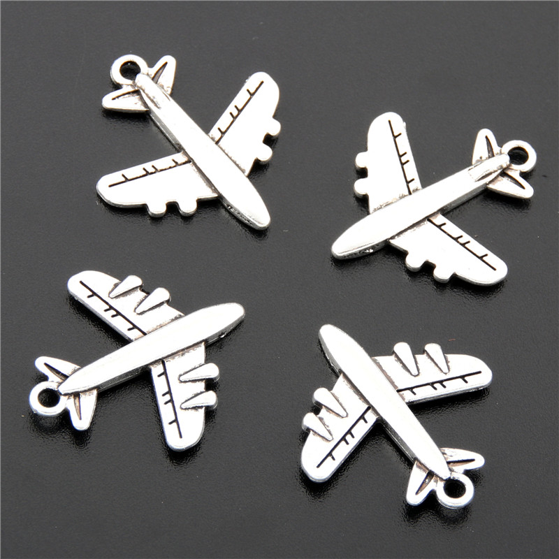 25pcs Antique Silver Airplane Plane Charms Pendants Making DIY Handmade Tibetan Silver Jewelry A2689 image