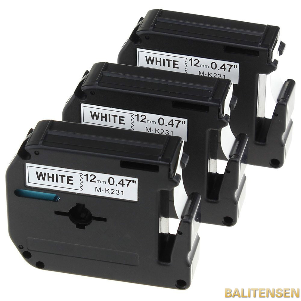 """3PK 12mm Label Tape Compatible for Brother P-touch M-K231 MK231 Black//White 1//2/"""""""
