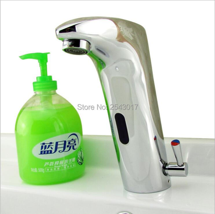 Capteur automatique robinet lavabo évier chaud et froid mélangeur mains libres Chrome poli évier robinet de vanité ZR1013 - 3
