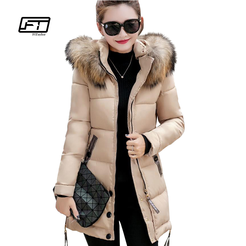 Fitaylor Fur Collar Women Winter Thick Jackets Long Cotton Padded Coat Female Hooded Warm Outerwear Overcoat Slim Parka Jacket women thick winter large size long section padded hooded outerwear new fashion fur collar slim padded cotton warm coat jacket