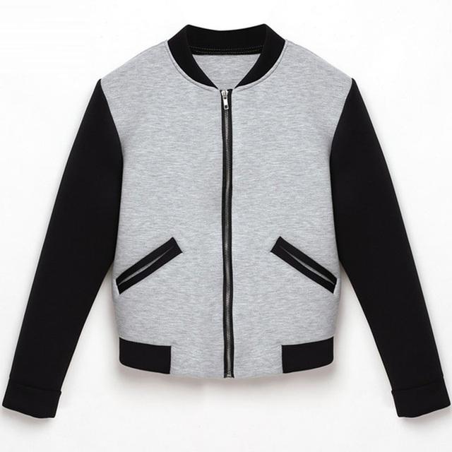 Venta caliente Mujeres Bomber Jacket 2016 Otoño Invierno de Manga Larga Mujeres Básicas Abrigos Moda Abrigos Delgados Outwear Jaqueta Feminina