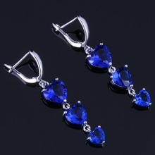Exclusive Heart Shaped Blue Cubic Zirconia 925 Sterling Silver Drop Dangle Earrings For Women V0802 trendy heart shaped round green cubic zirconia 925 sterling silver drop dangle earrings for women v0830