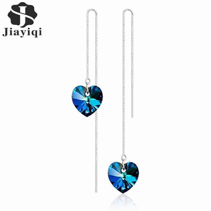 6 Color 2017 Hot Sale Korean Style Crystal Silver Drop Earrings Fashion Heart Earrings for Women Top Qualtity Fine Jewelry