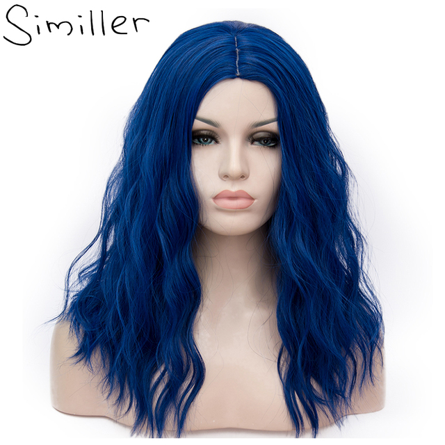 Similler 18inch Afro Women Kinky Straight Short Wigs Blue Pick Brown  Cosplay Synthetic Hair Heat Resistant 29 Colors Available 988895ae76