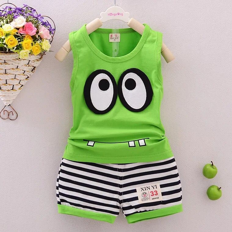2018 summer new children's vest suit boy with big eyes Cartoon boys and girls cotton suit vest+shorts kids clothes 2017 new pattern small children s garment baby twinset summer motion leisure time digital vest shorts basketball suit