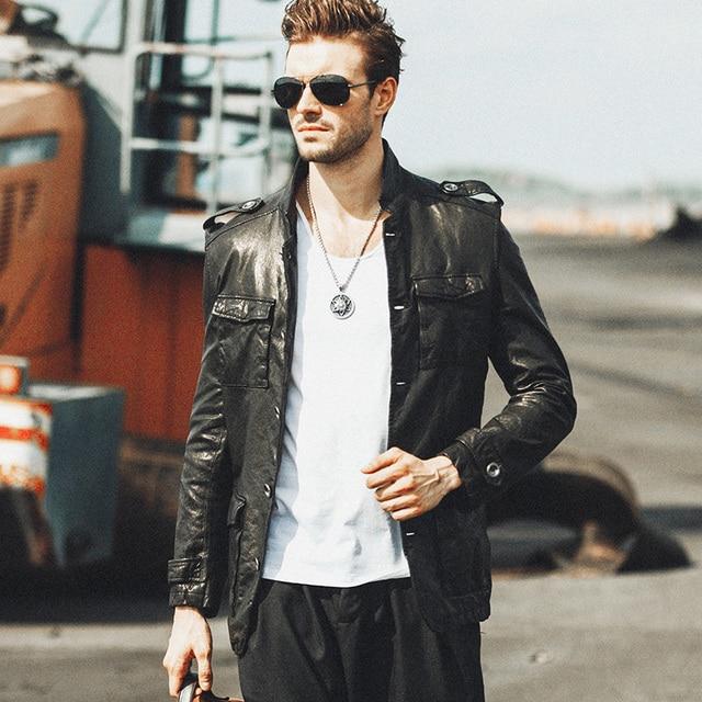 High Quality leather men Jacket Genuine Sheepskin Luxury Brand Dusen Klein Slim Designer Middle-long Fashion Black cats DK061
