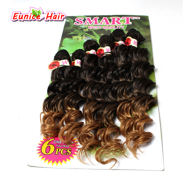 6pcs Full Head Ombre Deep Wave Synthetic Hair Extension Curly