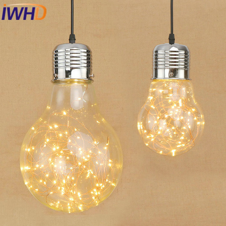 IWHD Style Loft Industrial Pendant Lights Glass Vintage Lamp LED  Pendant Lamps Edison Bulb Light Fixtures Reteo Lamparas mordern nordic retro edison bulb light chandelier vintage loft antique adjustable diy e27 art spider ceiling lamp fixture lights