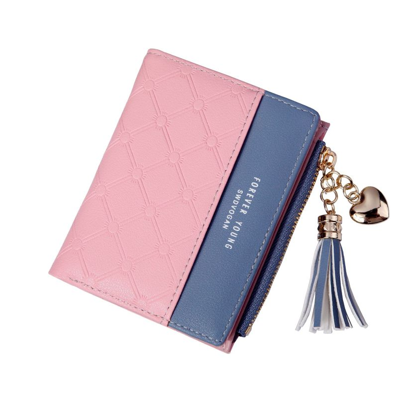 2019 Time-limited Limited Pu Women Lady Panelled Zipper Women's Purse Short Change Color Leather Wallet Zip Clasp Bag Small