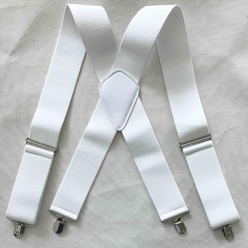 High Quality Pure Color 5cm Wide  X-Shape Braces Men's Suspenders Men Braces 4 Clip Elastic Male Suspenders