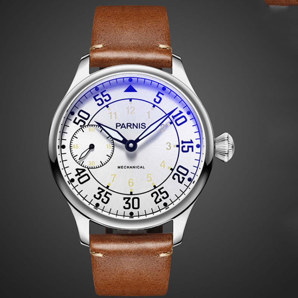 44mm Parnis White Dial Luminous Hands Leather strap Luxury Brand Stainless steel Case 6497 Hand Winding Movement men's Watch 44mm parnis blue dial luxury brand silver hands rose golden plated case luminous marks leather 6497 hands winding men s watch