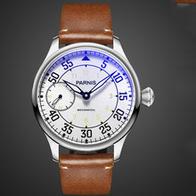 цена 44mm Parnis White Dial Luminous Hands Leather strap Luxury Brand Stainless steel Case 6497 Hand Winding Movement men's Watch онлайн в 2017 году
