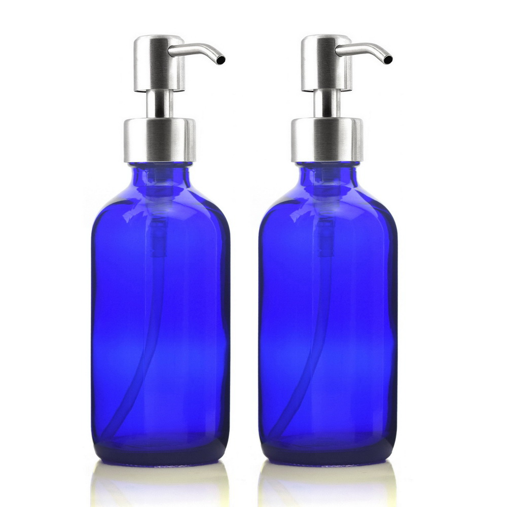 2 X 250ml Cobalt Blue Glass Liquid Soap Dispenser Bottle w/ Stainless Steel Pump for Hand Sanitizer Kitchen Bathroom Lotion 8 Oz 11 11 free shippinng 6 x stainless steel 0 63mm od 22ga glue liquid dispenser needles tips