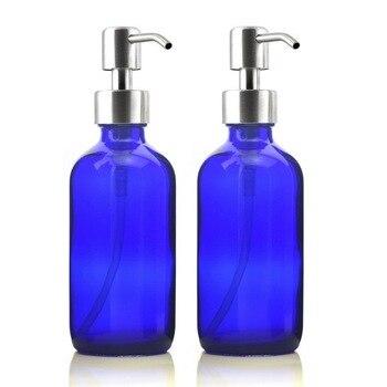 2pcs 250ml Cobalt Blue Glass Liquid Soap Dispensers Empty Stainless Steel Lotion Pump Bottle for Hand Soap Kitchen Bathroom 8 Oz