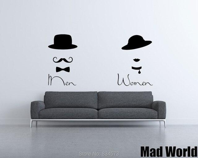 Mad wereld wc man vrouw schoonheidssalon wall art stickers