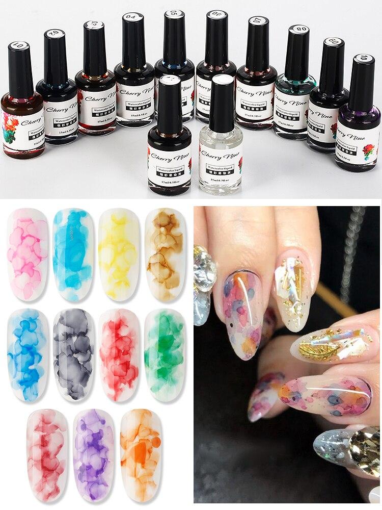 New Coming Watercolor Gel For Nails Painting And Tinting Ink Treatment Nail Gel Polish UV Mable Liquid Nail Smoke Bubble