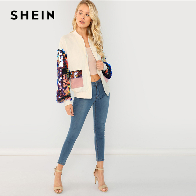 SHEIN White Highstreet Elegant Contrast Sequin Sleeve Pocket Front Zipper Up Jacket Autumn Casual Fashion Women Coat Outerwear 6
