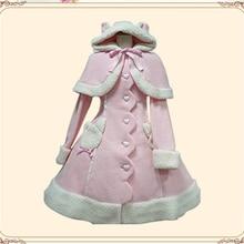 Новинка года; сезон осень-зима; плащ с капюшоном в стиле «Лолита»; плащ с ушами; шерстяное пальто; милое приталенное пальто;