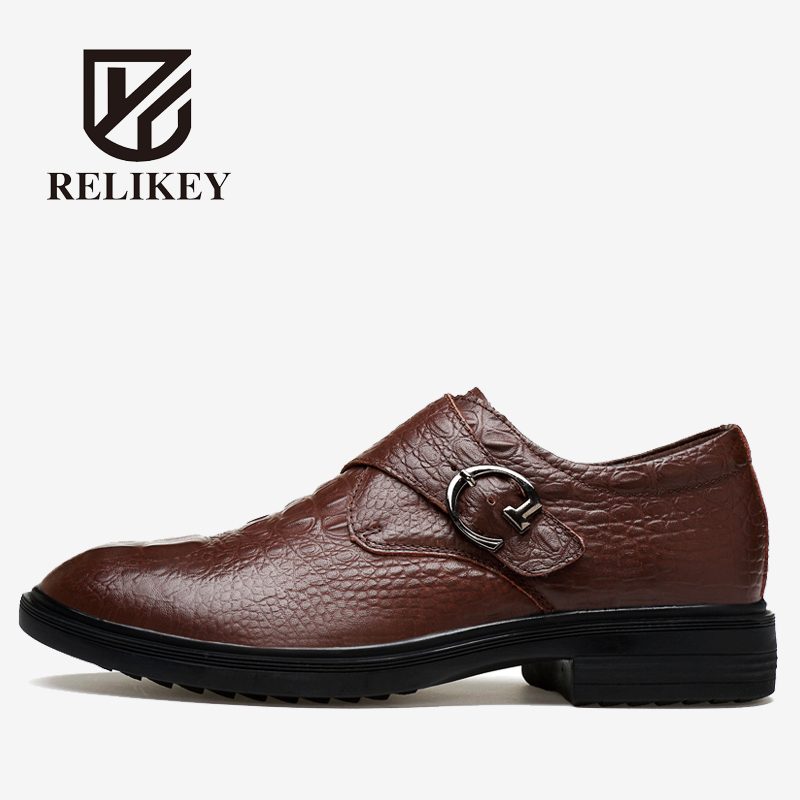 RELIKEY Brand Men Wedding Shoes Top Quality Handmade Genuine Leather Male Dress Shoes Stylish Crocodile Style Oxfords for Men