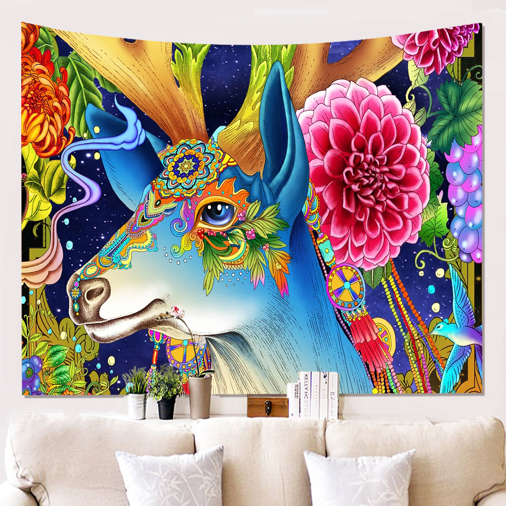 Dorm Room Carpet Tropical Tapestry Painted Deer Wall Hanging Cloth Dorm Room Carpet Beach Mat For Home Decor Textile Indian Decoration Tapices In Tapestry From Home