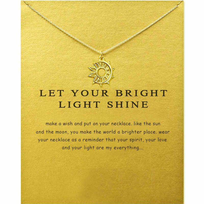 Boho Carved Sun Moon Hollow Fine Necklace Fashion Gold Color Pearl Card For Women  Engagement Gift Wholesale