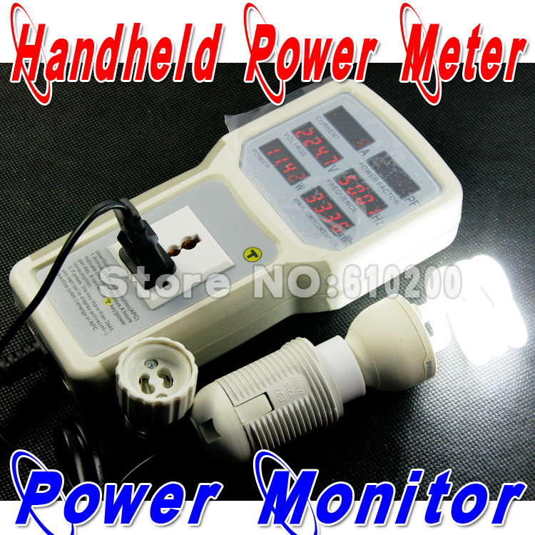 Free shipping Handheld power meter power analyzer LED metering socket measurable current-voltage power factor PH-9800 85V-265V hp9800 pc usb port 4500w 85v 110v 220v 265v ac 20a electric power energy monitor tester watt meter analyzer with socket output