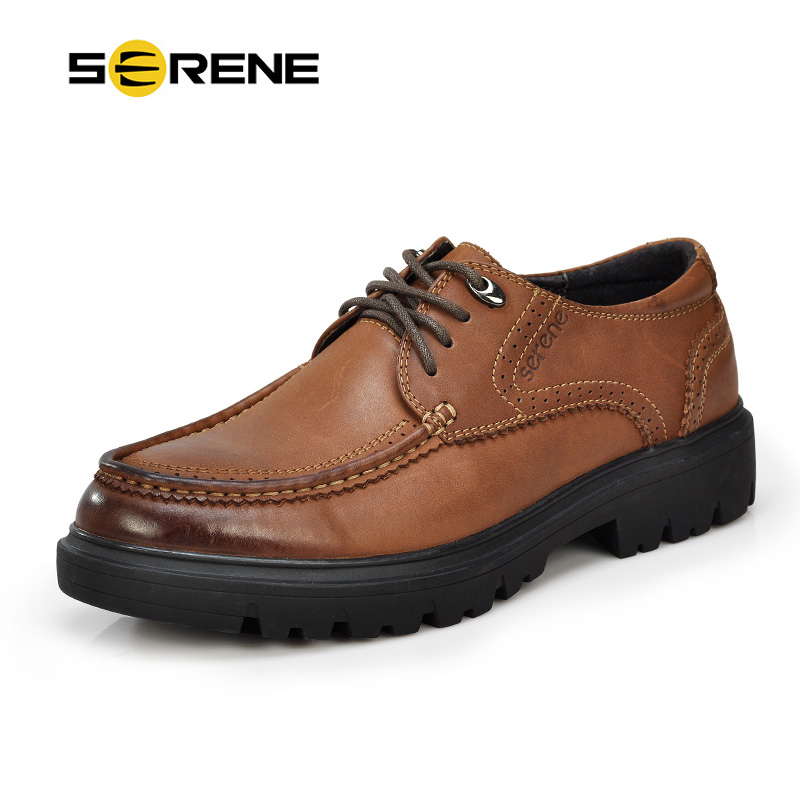SERENE Brand Mens Derby Shoes British Carved Leather Shoes Bullock Business Casual Shoes Increased-within Lace-Up Cow Leather serene brand 2017 men casual loafers retro british shoes carved leather slip on moccasins bullock business casual men shoes 6318
