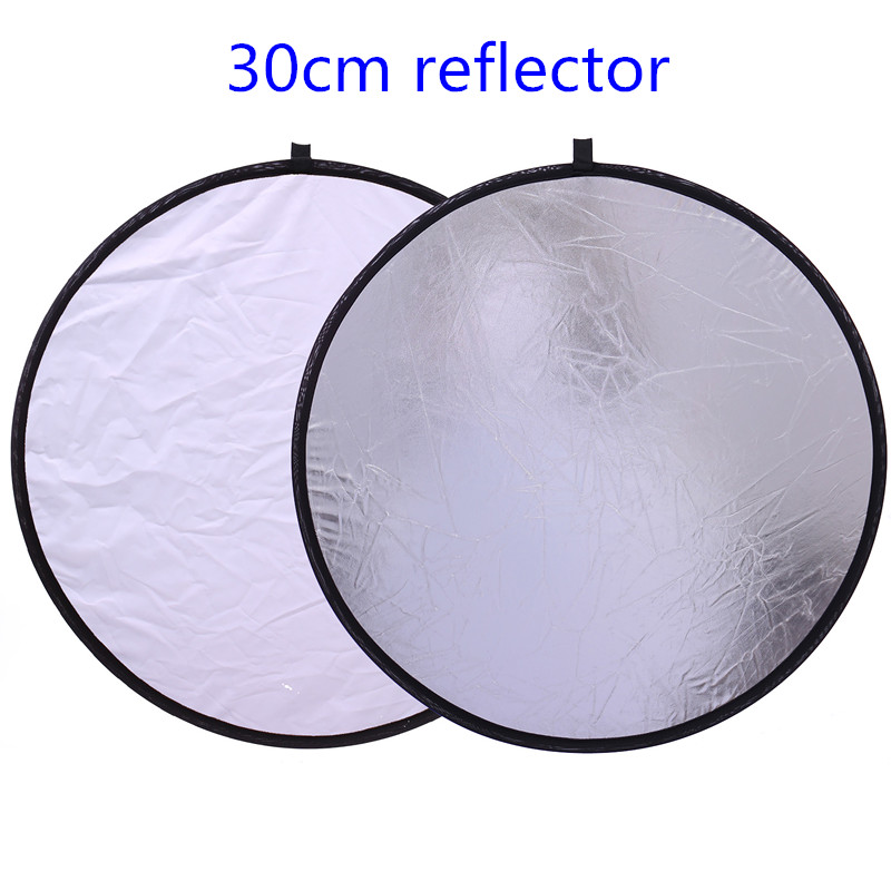 CY 12/30cm 2in1 White and Silver Photo Studio Reflector Handhold Multi Collapsible Portable Disc Light Reflector for Photograph