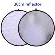 """CY 12 """"/30 cm 2in1 Beyaz ve Gümüş Fotoğraf Stüdyosu Reflektör Tutamak Çok Katlanabilir Taşınabilir Disk ışık reflektörü için fotoğraf"""