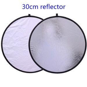 """Image 1 - CY 12 """"/30 cm 2in1 blanc et argent Photo Studio réflecteur poignée Multi pliable Portable disque réflecteur de lumière pour photographie"""