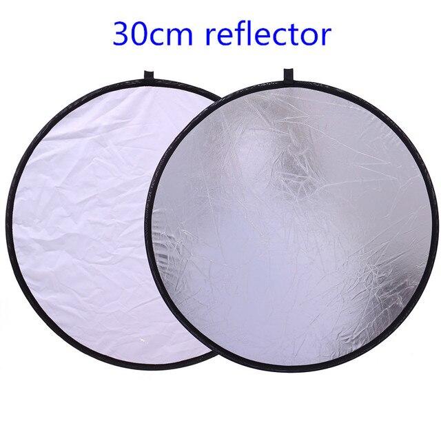 """CY 12 """"/30 cm 2in1 blanc et argent Photo Studio réflecteur poignée Multi pliable Portable disque réflecteur de lumière pour photographie"""