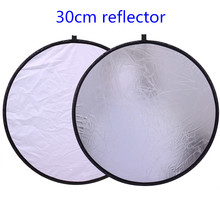 "Cy 12 ""/30 cm 2in1 wit en zilver fotostudio reflector houvast multi opvouwbare draagbare disc light reflector voor foto"